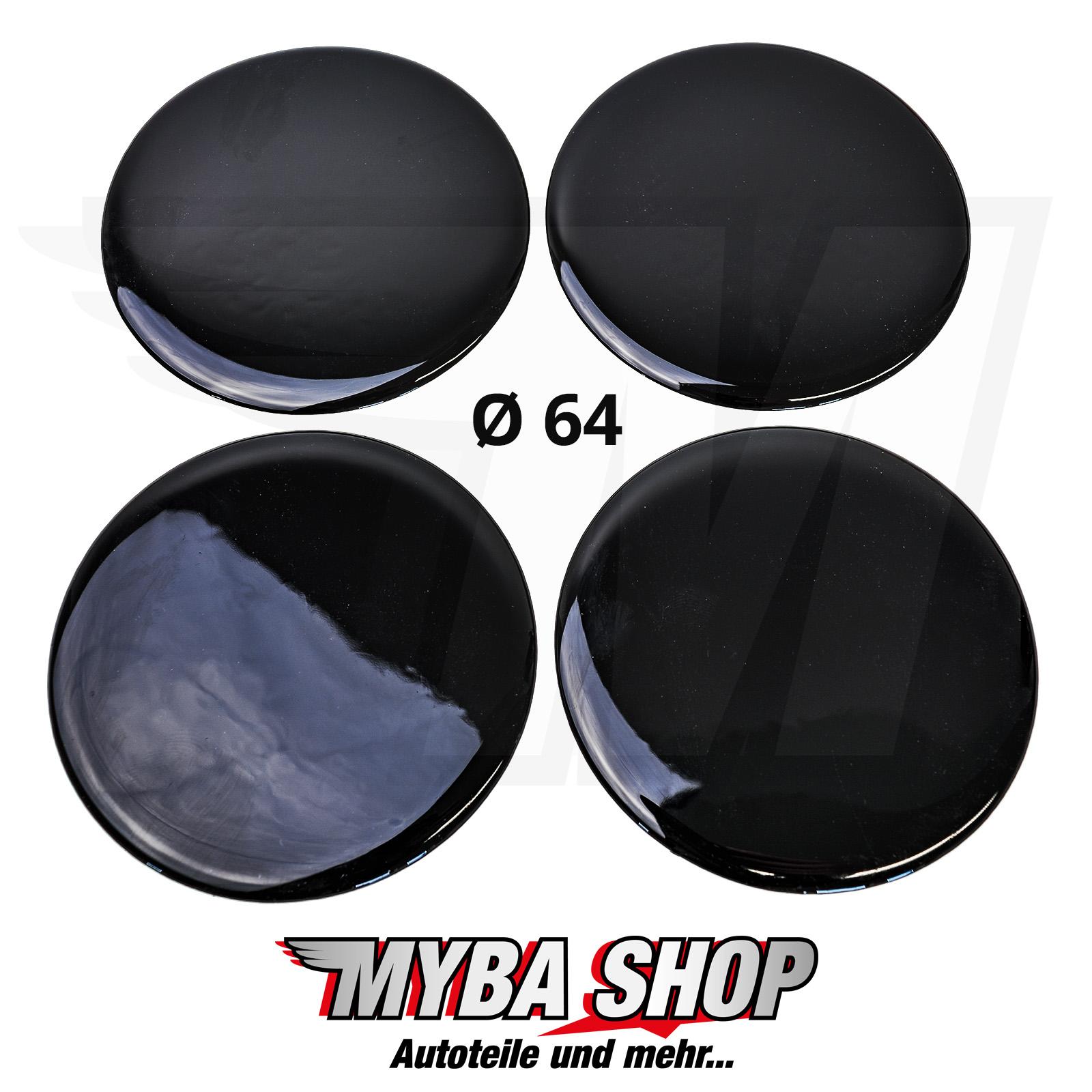 4x schwarze silikon aufkleber 64mm f r nabenkappen